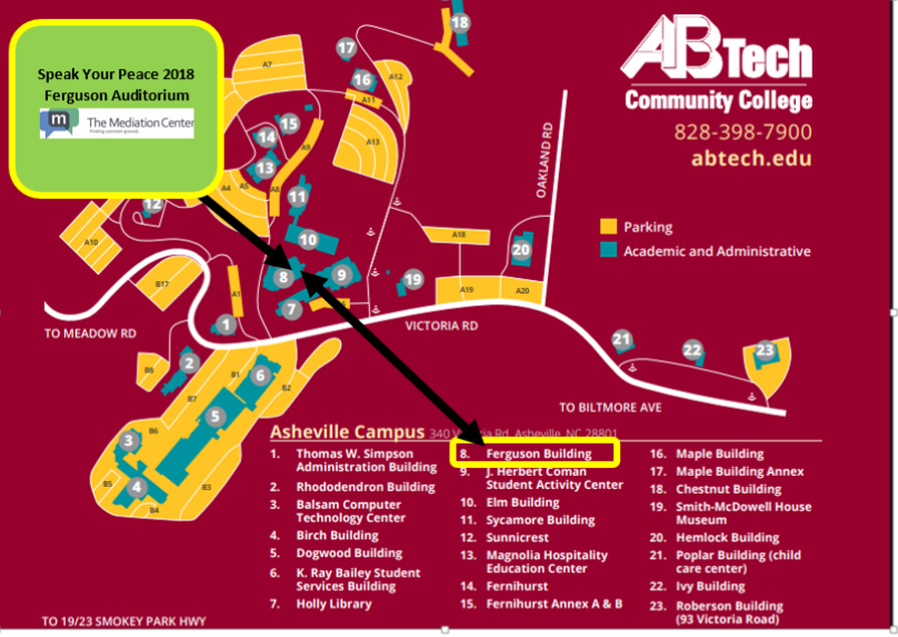 Ab Tech Campus Map AB Tech Speak Your Peace 2018 Map   The Mediation Center Ab Tech Campus Map